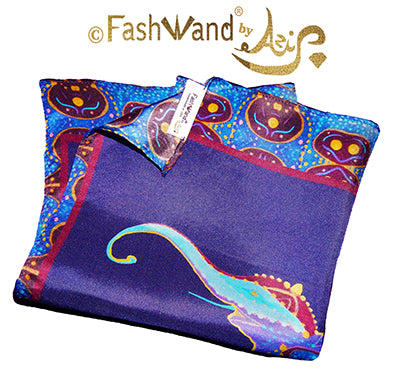 "FashWand Men's Arte Pocket Square in Silk Twill ""Lapis Lazuli The Elephant"" Golden Jewels"
