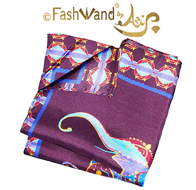 "FashWand Men's Arte Pocket Square in Silk Twill ""Lapis Lazuli The Elephant"" Crown"