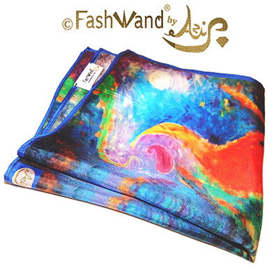"FashWand Men's Arte Pocket Square in Silk Twill ""Tropical Moonlight"""