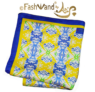 "FashWand Men's Arte Pocket Square in Silk Twill ""Yellow Crest"""