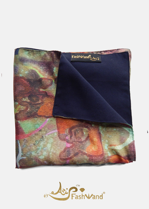 "FashWand Men's Pocket Square in Silk Twill ""Sea Forest"""