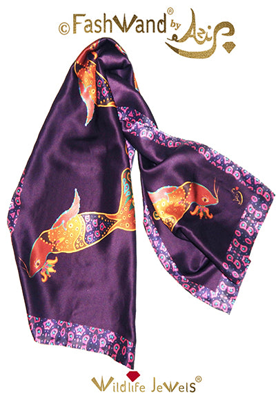 "FashWand 18 x 52 Arte Scarf in Silk Satin ""Smoky Quartz The Elephant Seal """