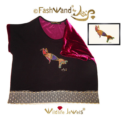 "FashWand Jeweled Embroidery Wool & Silk Velvet Scalloped Lace Top ""Smoky Quartz The Elephant Seal"""