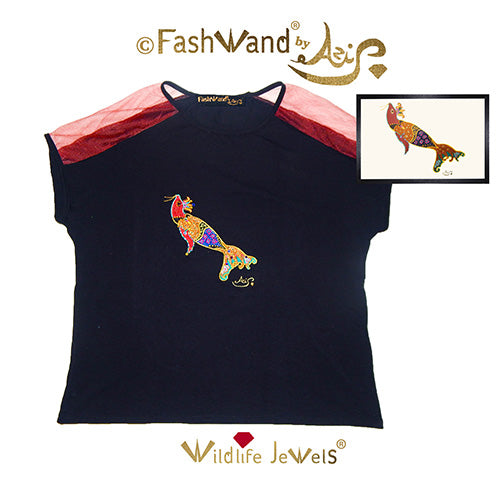 "FashWand Jeweled Embroidery Wool & Italian Tulle Top ""Smoky Quartz The Elephant Seal"""
