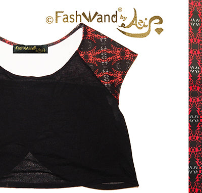 "FashWand Sheer Crop Arte Top ""Red Giraffe"""