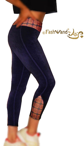 "FashWand Cotton Velour Side Arch Arte Leggings ""Alexandrite Jewels"""