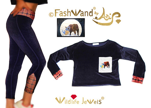 "FashWand Cotton Velour Arte Pocket Top & Leggings ""Alexandrite The Rhino"" Gift Set"