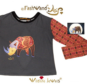 "FashWand Open Back Long Sleeves Velvet Trim Top ""Alexandrite The Rhino"""