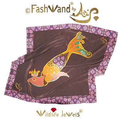 "FashWand Jeweled  Arte Scarf in Silk Crepe de Chine 35 x 35 ""Smoky Quartz The Elephant Seal"""