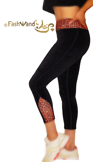 "High Waisted Cotton Velour Side Arch Arte Leggings ""Ruby Jewels"""