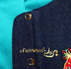 "FashWand Jeweled Embroidery Lacy Silk Denim Jacket ""Ruby The Six Plumed Bird of Paradise"""