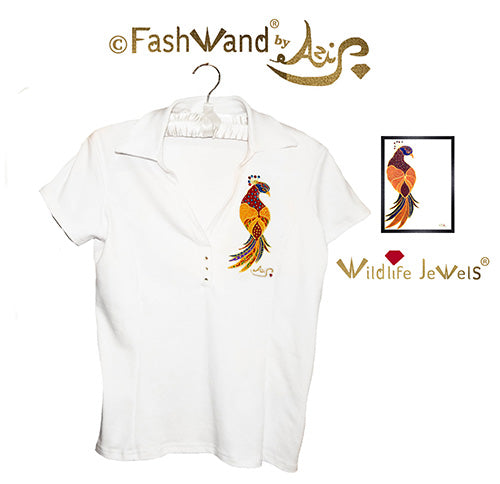 "FashWand Jeweled Embroidery Cotton Polo- ""Ruby The Six Plumed Bird of Paradise™"""