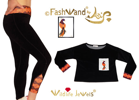 "FashWand Cotton Velour Arte Pocket Top & Leggings ""Ruby The Six Plumed Bird of Paradise"" Gift Set"
