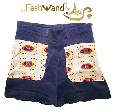 "FashWand Scallop Hem Silk Satin Scalloped Hem Shorts ""Ruby Crown"""