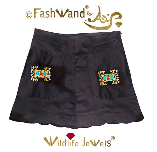 "FashWand Jeweled Embroidery Cotton + Silk Scalloped Hem Shorts ""Ruby Crown"""