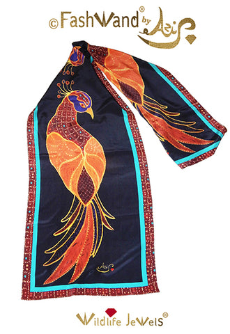 "FashWand 15 x 68 Arte Scarf in Silk ""Ruby The Six Plumed Bird of Paradise"""