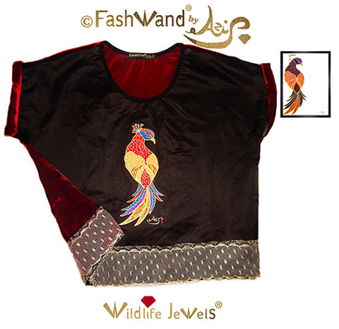 "FashWand Jeweled Embroidery Wool & Silk Velvet Scalloped Lace Top ""Ruby The Six Plumed Bird of Paradise"""