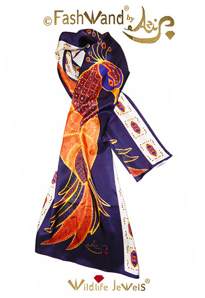 "FashWand 22 x 70 Arte Scarf  in Silk  Twill ""Ruby The Six Plumed Bird of Paradise"""