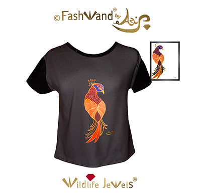 "FashWand Velvet Arte Top ""Ruby The Six Plumed Bird of Paradise"""