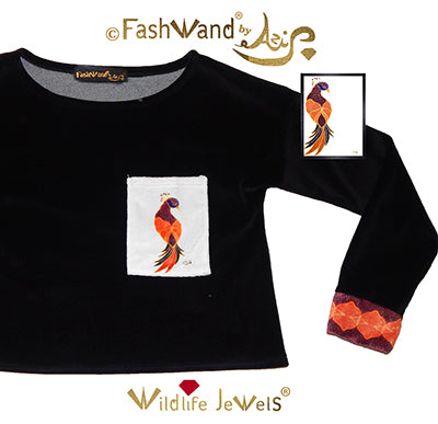 "FashWand Velour Arte Pocket Top ""Ruby The Six Plumed Bird of Paradise"""