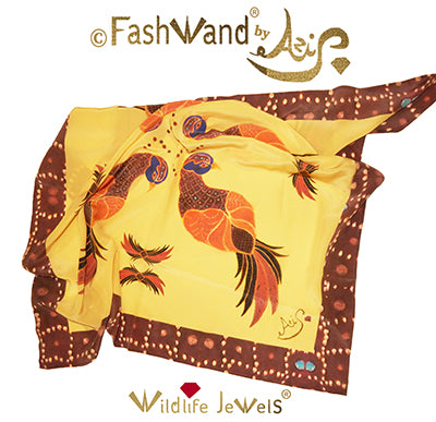 "FashWand 35 x 35 Arte Scarf in Silk Crepe de Chine ""Ruby The Six Plumed Bird of Paradise """