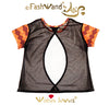 "FashWand Open Back Mesh Top ""Ruby The Six Plumed Bird of Paradise"""