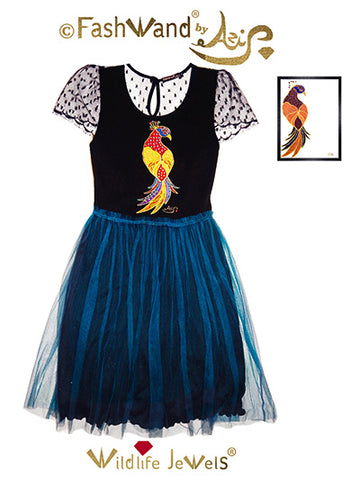 "FashWand Jeweled Embroidery Scalloped Lace Silk Tulle Dress ""Ruby The Six Plumed Bird of Paradise"""