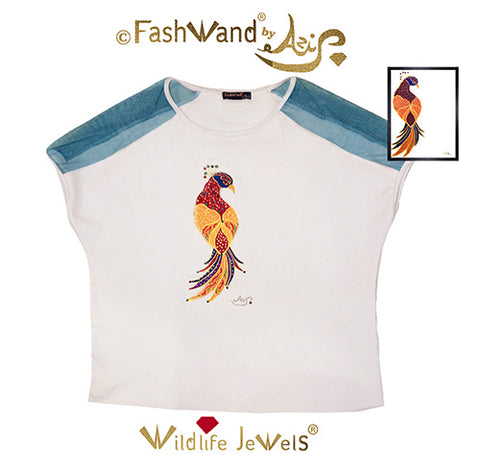"FashWand Jeweled Embroidery Bamboo & Italian Tulle Top ""Ruby The Six Plumed Bird of Paradise"""