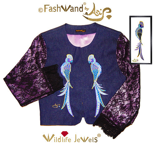 "FashWand Jeweled Embroidery Lace + Silk Denim Jacket ""Sapphire The Spix's Macaw"""