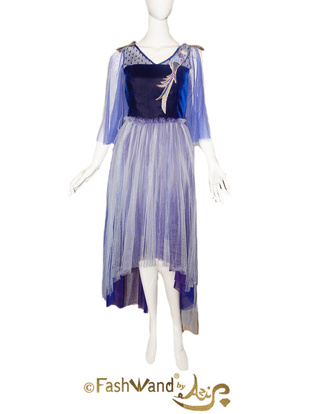 FashWand Sapphire the Spix's Macaw Jeweled Lace Appliqué Silk Tulle Gown
