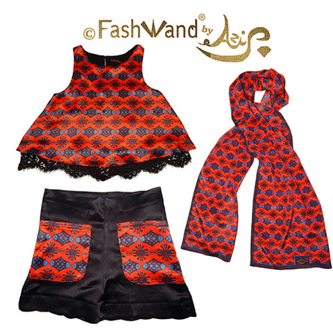 "FashWand ""Scarlet Sea Pens"" Gift Set in Silk Satin and Lace"