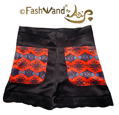 "FashWand Scallop Hem Silk Satin Scalloped Hem Shorts ""Scarlet Sea Pens"""