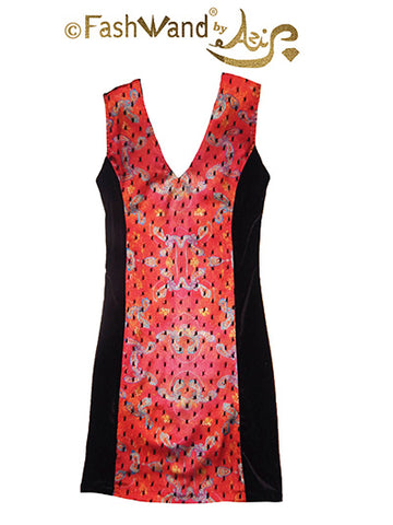 "FashWand Polka Dot Lace Arte Panel Dress in Silk & Velvet ""Blue Coral"""