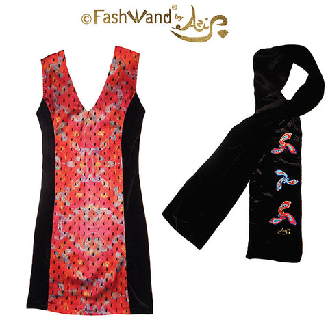 "FashWand Embroidered Scarf & Lacy Art Panel Dress in Satin & Velvet ""Blue Coral"" Gift Set"