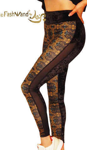"FashWand Crushed Velvet Side Mesh Arte Leggings ""Gold Tiger"""