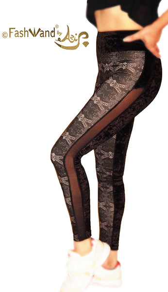 "FashWand Crushed Velvet Side Mesh Arte Leggings ""Gray Tiger"""