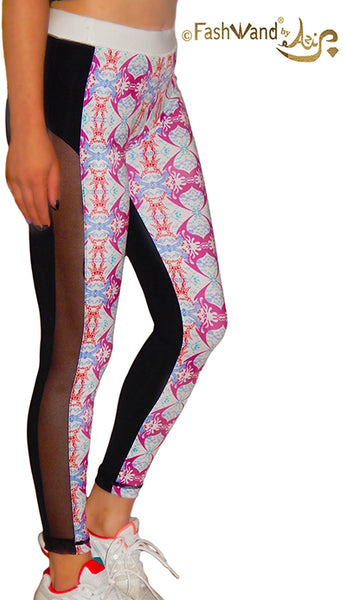 "FashWand Side Mesh Arte Leggings ""Pink Crest"""