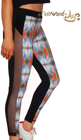 "FashWand Side Mesh Arte Leggings""Tropical Moonlight"""