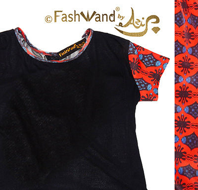 "FashWand Open Back Mesh Arte Top ""Scarlet Sea Pens"""