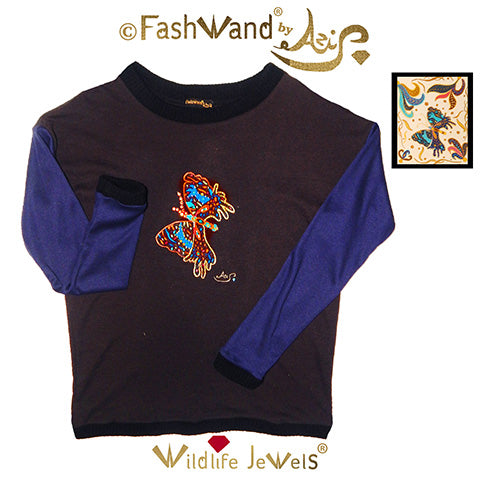 "FashWand Jeweled Embroidery Wool Sweater ""Azurite The Butterfly"""