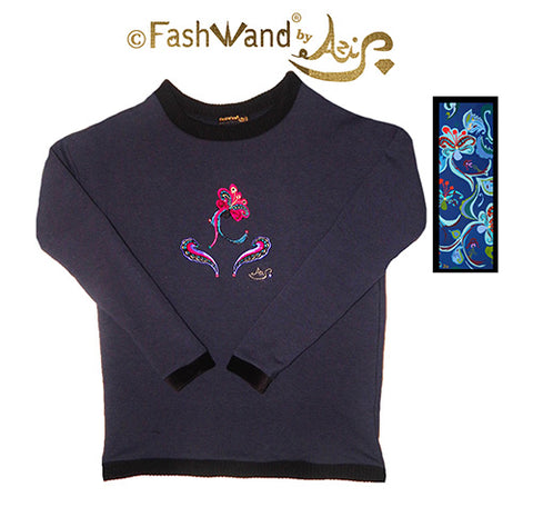 "FashWand Jeweled Metallic Embroidery Bamboo Sweater ""Dancing Flower"""