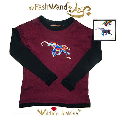 "FashWand Jeweled Embroidery Wool Sweater ""Lapis Lazuli The Elephant"""