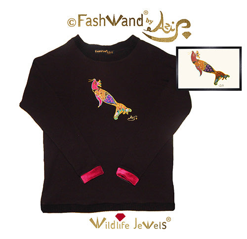 "FashWand Jeweled Embroidery Bamboo Sweater ""Smoky Quartz The Elephant Seal"""