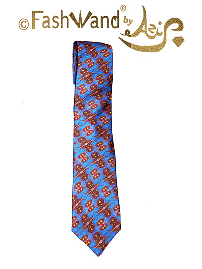 FashWand Men's Silk Tie Lapis Lazuli The Elephant Golden Jewels