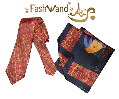 FashWand Men's Silk Tie & Pocket Square Gift Set Alexandrite The Rhino Violet Jewels