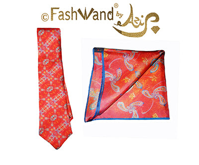 FashWand Men's Silk Tie & Pocket Square Gift Set Blue Coral