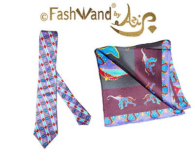 FashWand Men's Silk Tie & Pocket Square Gift Set Lapis Lazuli The Elephant Violet Jewels