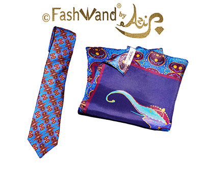 FashWand Men's Silk Tie & Pocket Square Gift Set Lapis Lazuli The Elephant Golden Jewels