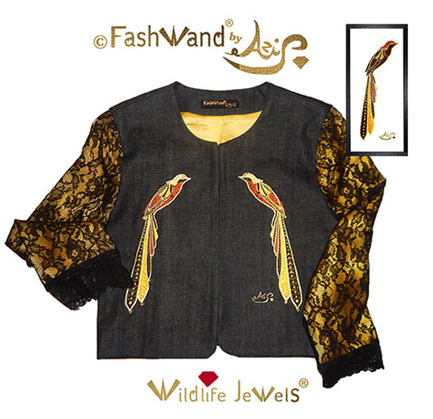 "FashWand Jeweled Embroidery Lacy Silk Denim Jacket ""Golden Topaz The Long Tailed Bird of Paradise"""