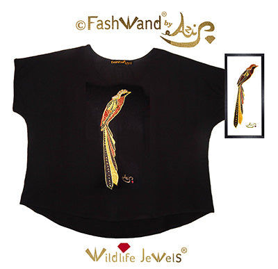 FashWand Jeweled Embroidery Wool Top Golden Topaz The Rothschild's Long Tailed Bird of Paradise™ Painting